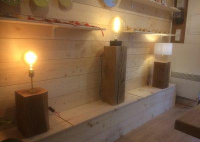 Lampes en chêne massif avec abat-jour ou ampoule vintage
